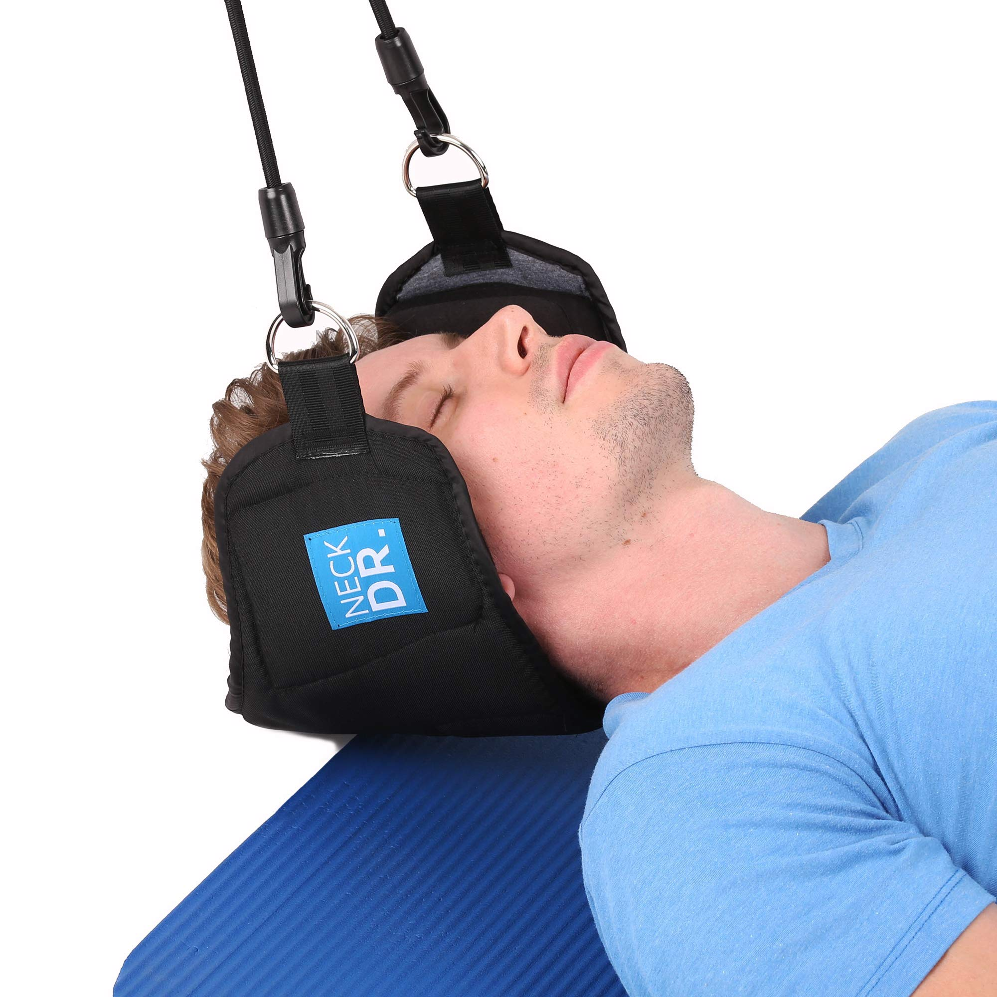 NECK DR. Premium Neck Hammock/Portable Traction Device – Neck Comfort, Cervical Compression Relief, Relaxation Device – Bonus Items: Neck Dr. Brand Eye Mask and Spiky Massage Ball by Neck Dr. (Image #2)