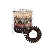 Kitsch Spiral Hair Ties, Coil Hair Ties, Phone Cord Hair Ties, Hair Coils - 4 Pcs, Brunette