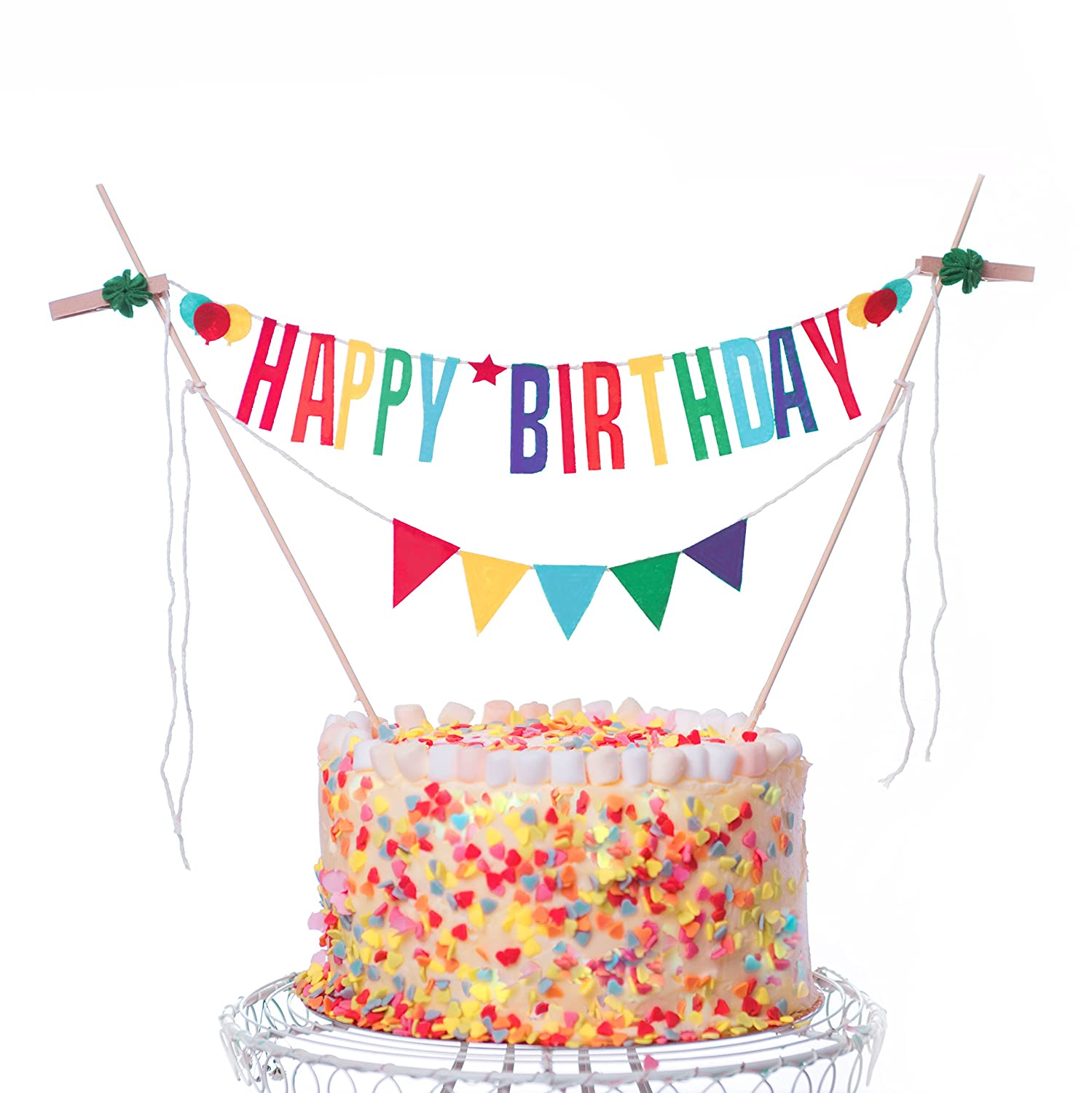 Happy Birthday Cake Topper Banner Colorful Decorating Bunting For Decorations