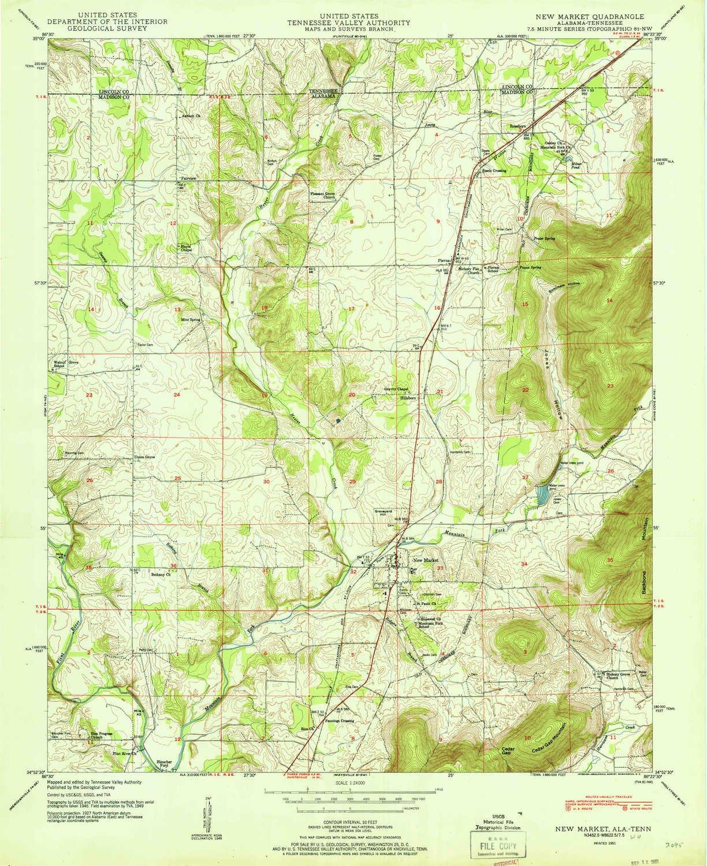 Amazon.com : YellowMaps New Market AL topo map, 1:24000 Scale, 7.5 X ...