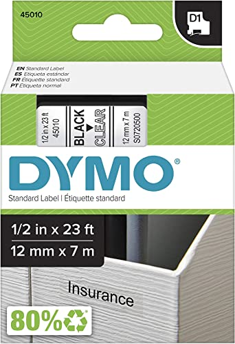 """4 PK 45010 Black on Clear Label Tape For Dymo D1 Labelmanager 420P 280 260P 1//2/"""""""