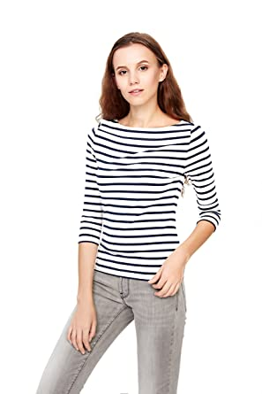 78aacf7bac HIYIN Womens Slim Fit 3/4 Sleeve T Shirt Boat Neckline Striped Hug Curves  Casual