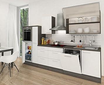 respekta Premium Küchenzeile Hochbau 310 cm eiche-grau weiß HG APL ... | {Küche weiß grau 25}