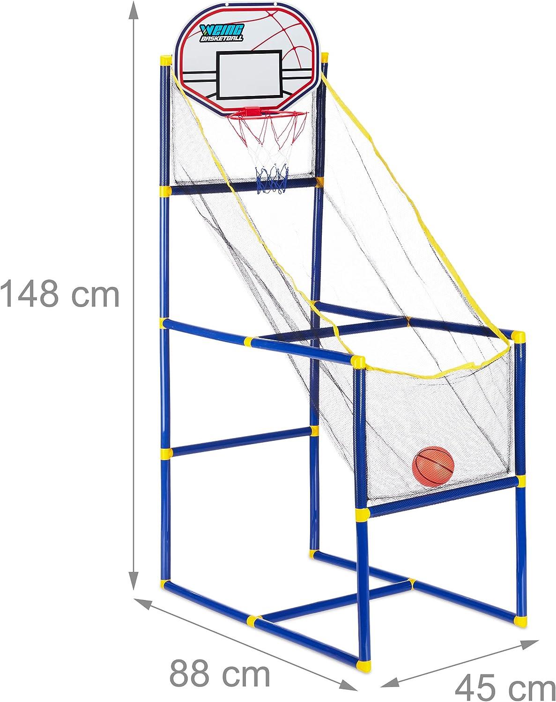Relaxdays Canasta Baloncesto Infantil, Set con 2 Pelotas y Bomba ...