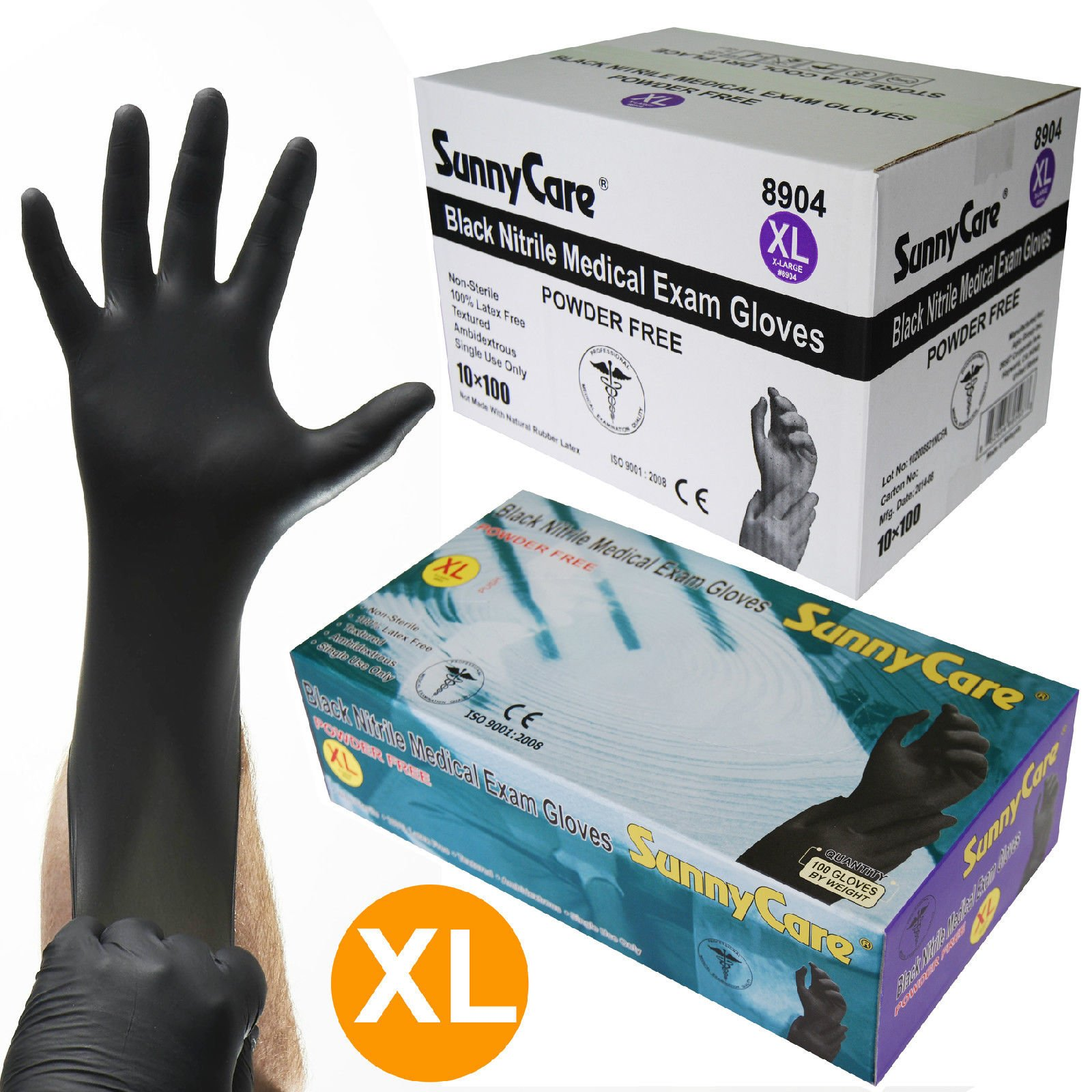 1000/cs 5mil Black Nitrile Medical Exam Gloves Powder Free (Latex Vinyl Free) XL by Gloves