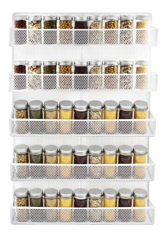 IZLIF 5 Tier Wall Mount Spice Rack Organizer Kitchen Storage Shelf,White by IZLIF