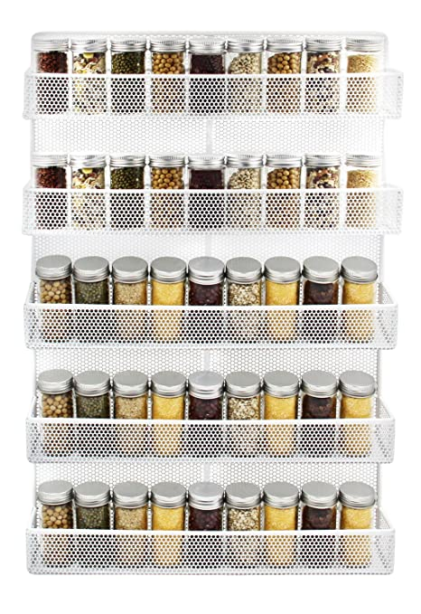 IZLIF 5 Tier Wall Mount Spice Rack Organizer Kitchen Storage Shelf,White