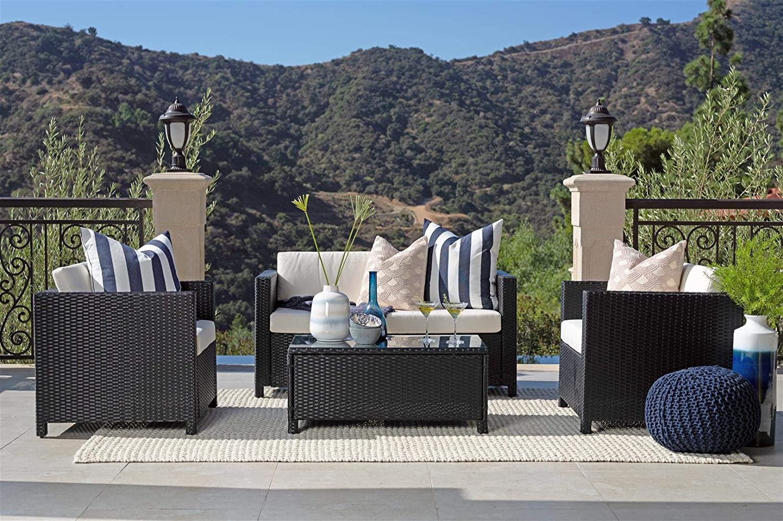 Coaster Home Furnishings 6KLB824905 Timberon 4-Piece Rattan Outdoor Sofa Set, Dark Brown