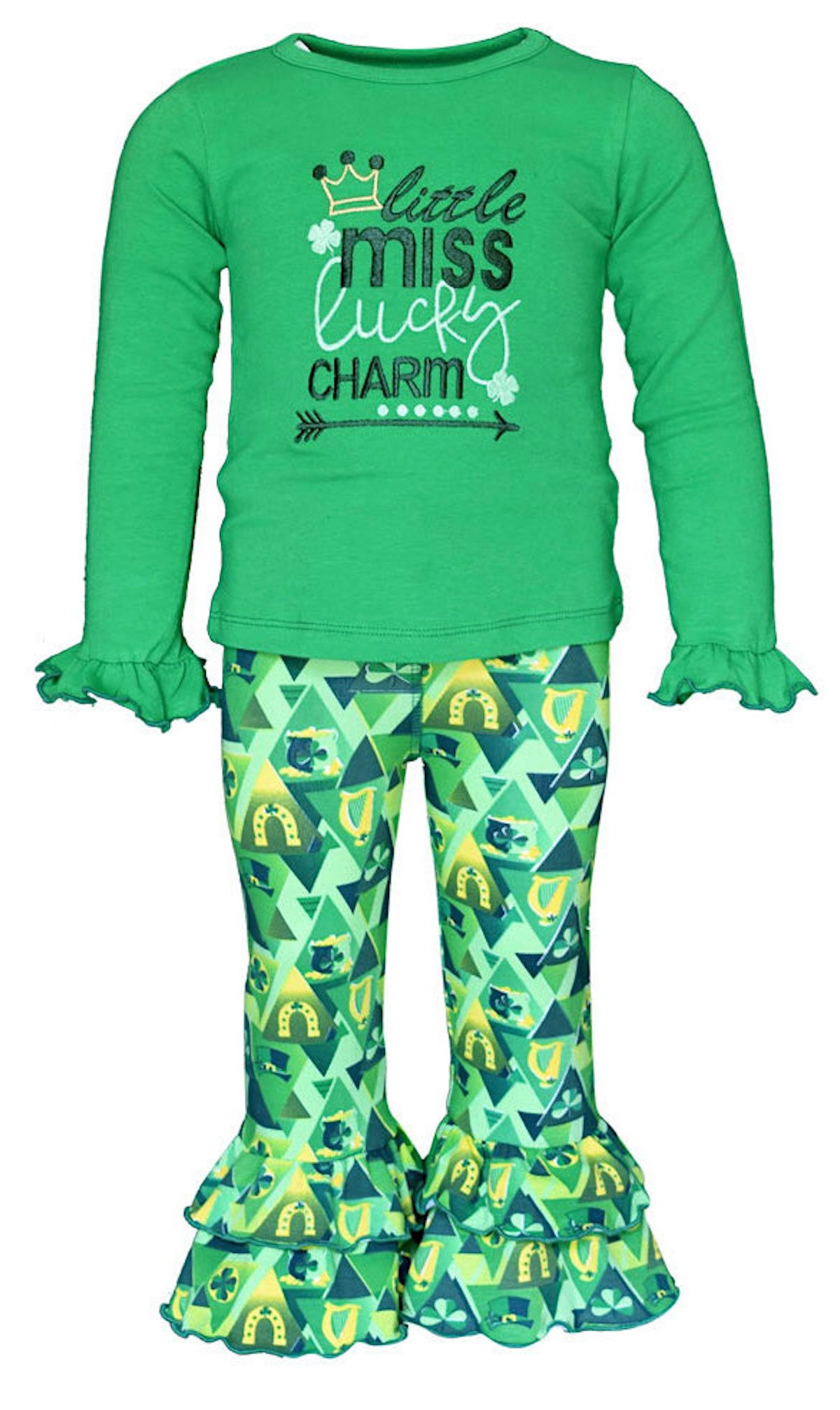 Unique Baby Girls 2 Piece Little Miss Lucky St Patrick's Day Outfit (3t)