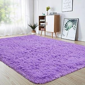 junovo Ultra Soft Area Rugs 5.3 x 7.5ft Fluffy Carpets for Bedroom Kids Girls Boys Baby Living Room Shaggy Floor Nursery Rug Home Decor Mats, Purple