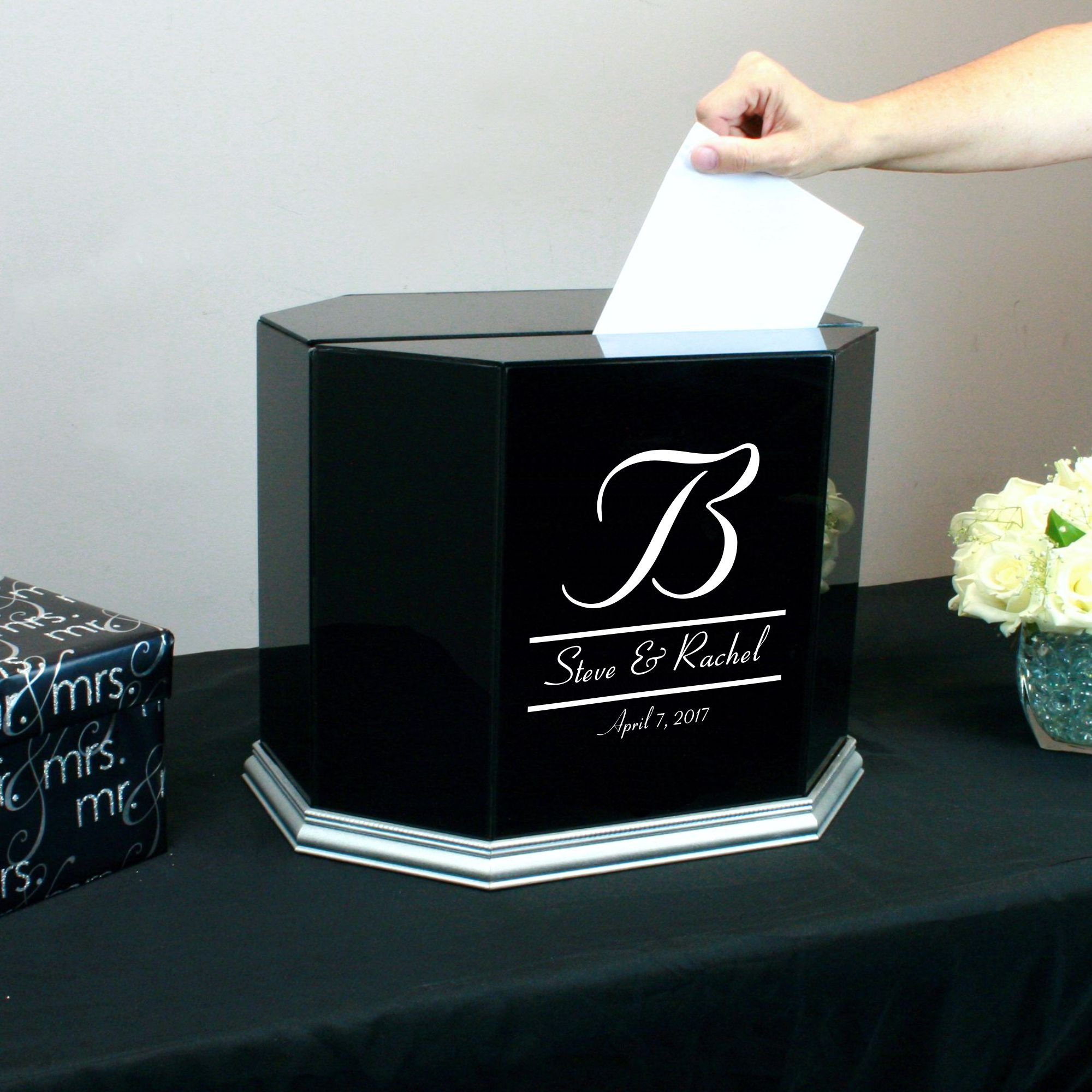 Personalized Wedding Card Box Black Glass with Silver Trim by Perfect Cases