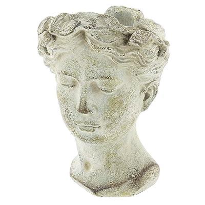 """Distinctive Designs Greek/Roman Style Female Statue Head Cement Planter 9"""" : Garden & Outdoor"""