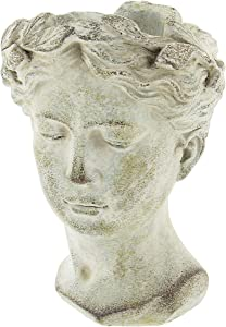Greek/Roman Style Female Statue Head Cement Planter (Style 1)