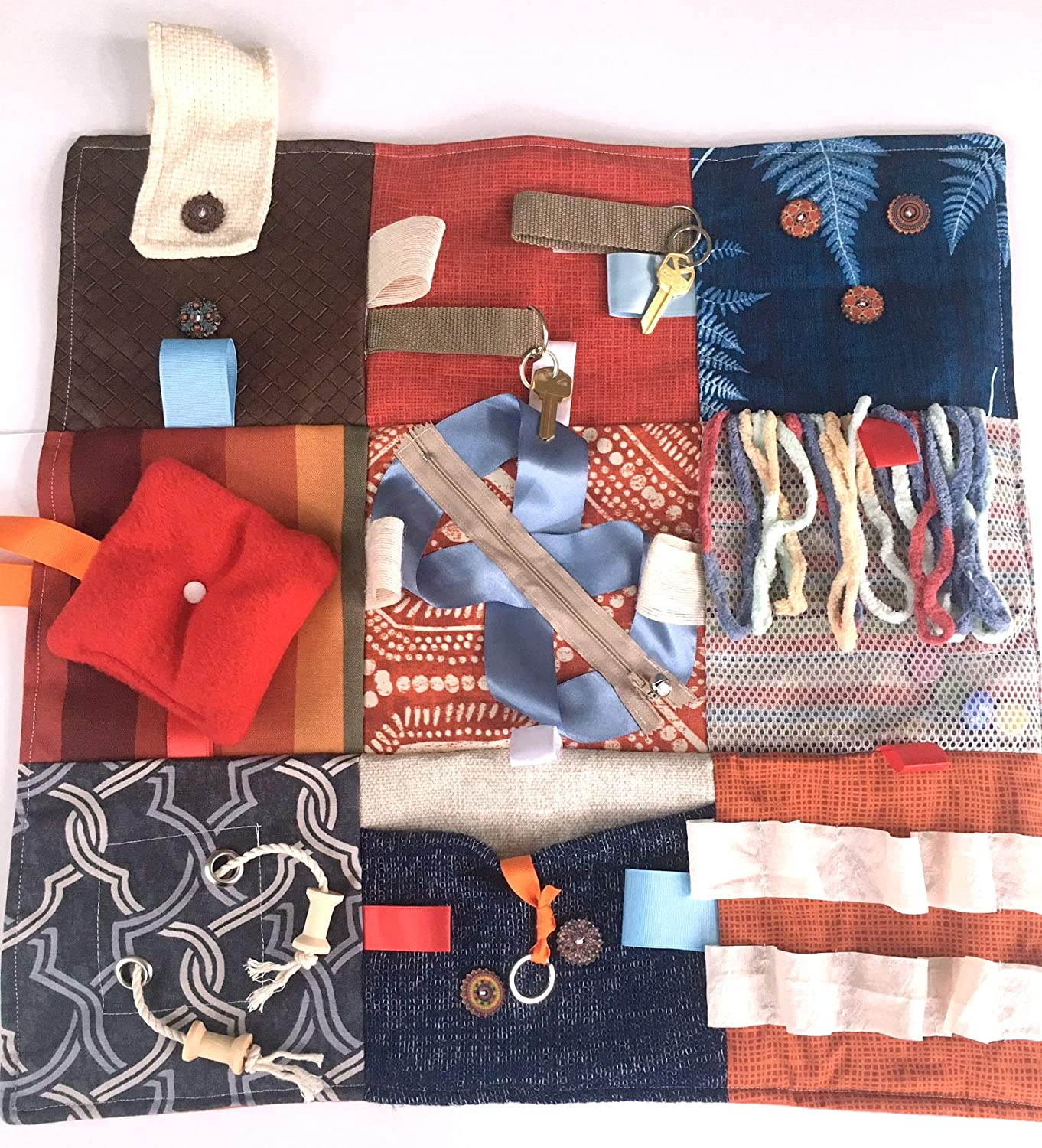 """Size 21/"""" x 21/"""" Blue /& Rust for People with Memory Loss Alzheimers Blanket and Dementia Toy Fidget Quilt Handmade in the U.S.A"""