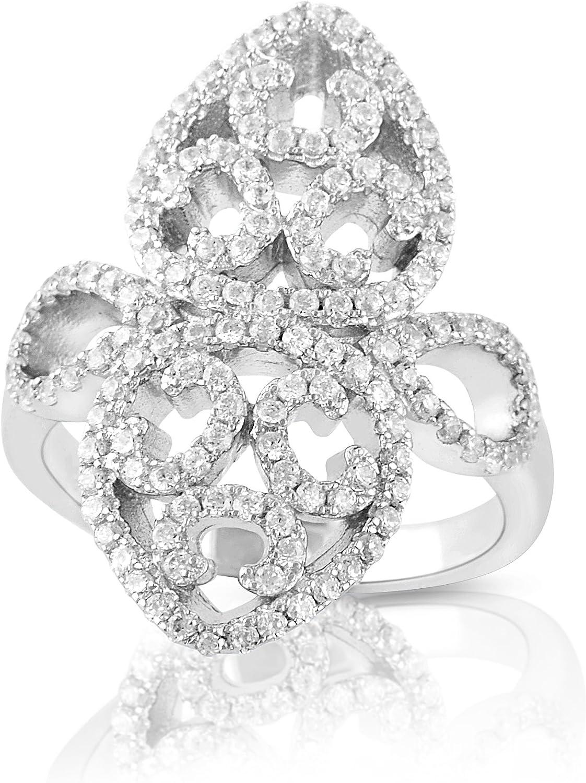 Size 5-9 Sterling Silver Simulated Diamond Filigree Fleur De Lis Ring