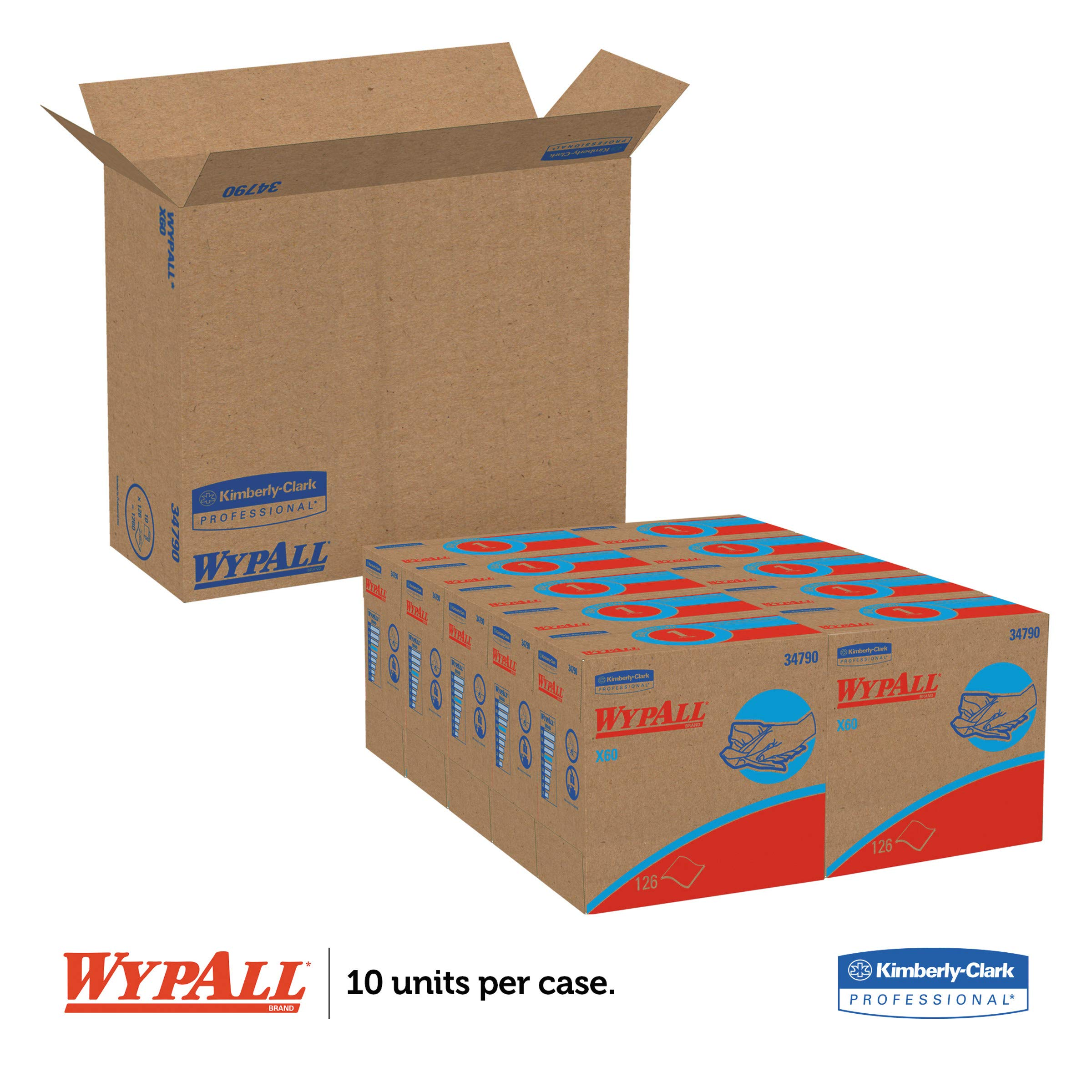 WypAll 34790CT X60 Cloths, POP-UP Box, White, 9 1/8 x 16 7/8, 126 per Box (Case of 10 Boxes)