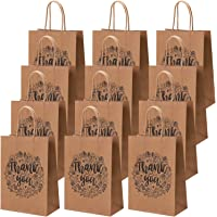 Cooraby 20 Pieces Thank You Gift Bags Brown Paper Bags Kraft Party Bags with Handle or Shopping Wedding Goodies Birthday…