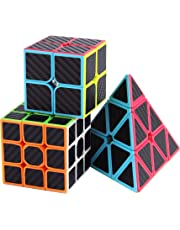Roxenda Speed Cube Set, Magic Cube Set of 2x2x2 3x3x3 Pyramid Carbon Fiber Puzzle Cube (2x2 3x3 Pyramid)