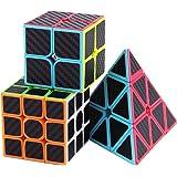 Roxenda Speed Cube Set, Magic Cube Set of 2x2x2 3x3x3 Pyramid Carbon Fiber Puzzle Cube (2x2 3x3 Pyramid)