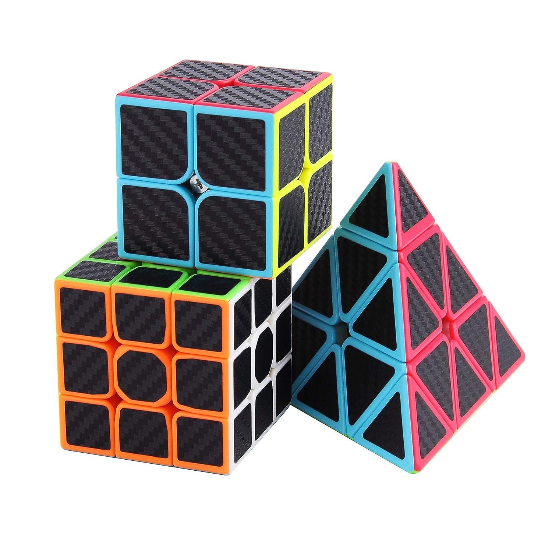 Roxenda Ensemble Speed Cube, Pyramid 2x2x2 3x3x3 Vitesse Cube de Magique; Autocollant Spin Lisse Super Durable avec des Couleurs Vives pour; Facile à Tourner et à Lisser (2 Pack)