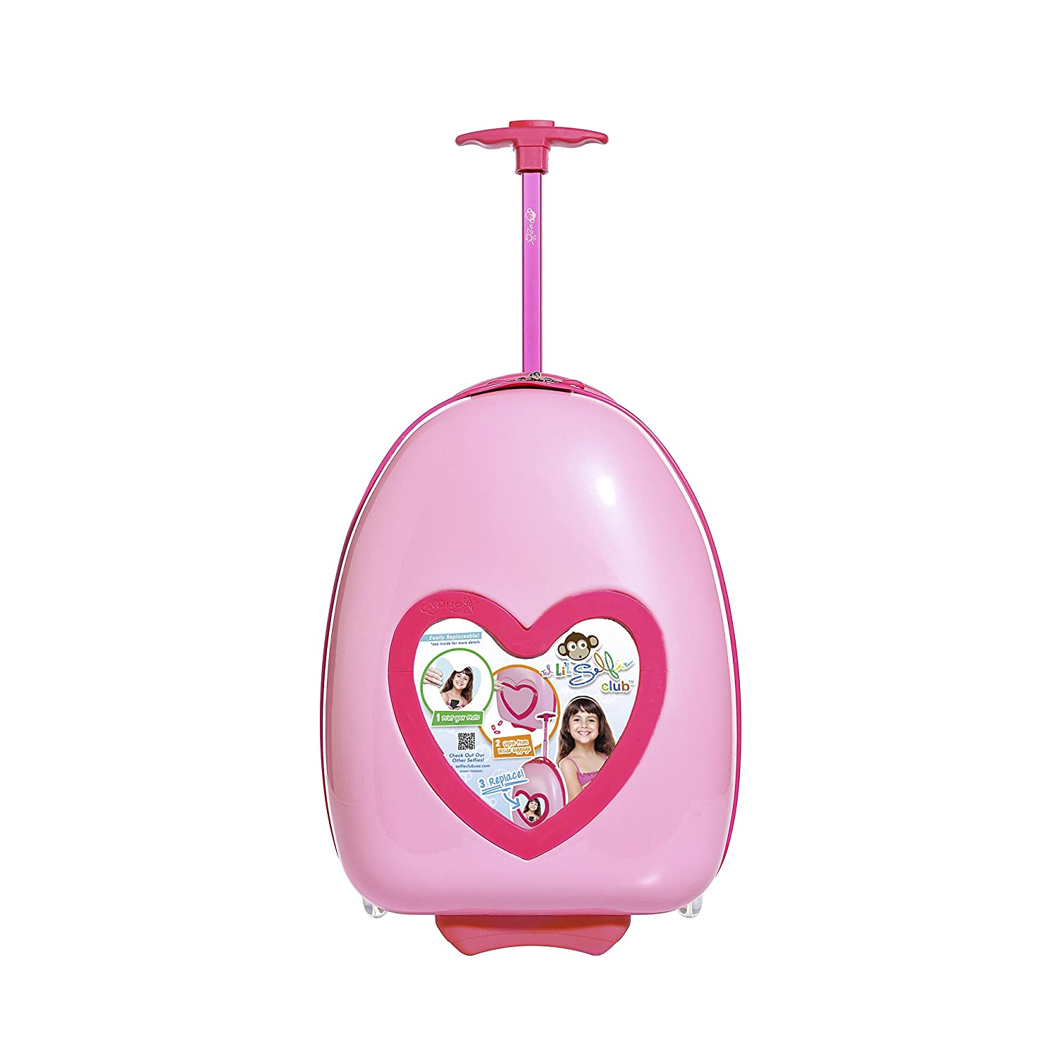 Travelers Club 16 Kids Carry-On Luggage with DIY Replaceable Photo Feature, Pink Heart Color Option