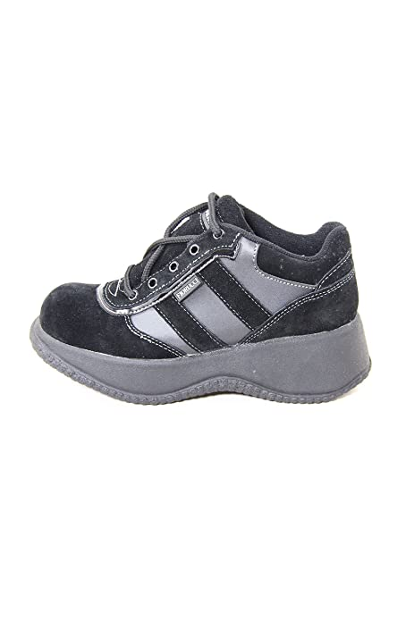Fiorucci Vintage Suede/Synthetic Sneakers With Wedge Heel 0721041 Black and Grey (37 EU, Nero)