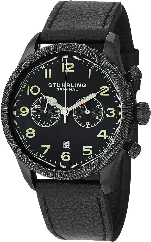 Stuhrling Original Men's 482.33551 Champion Victory Velo Quartz Chronograph Date Black Dial Watch