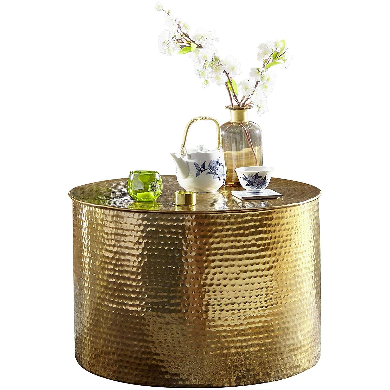 Wohnling RAHI Couchtisch, Aluminium, Gold, 61x40,5x61 cm