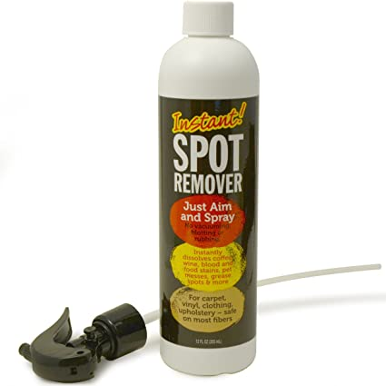 Instant Spot Remover for carpet, clothes, vinyl, upholstery. Stain remover  for wine, coffee, blood, stains more. 12oz.
