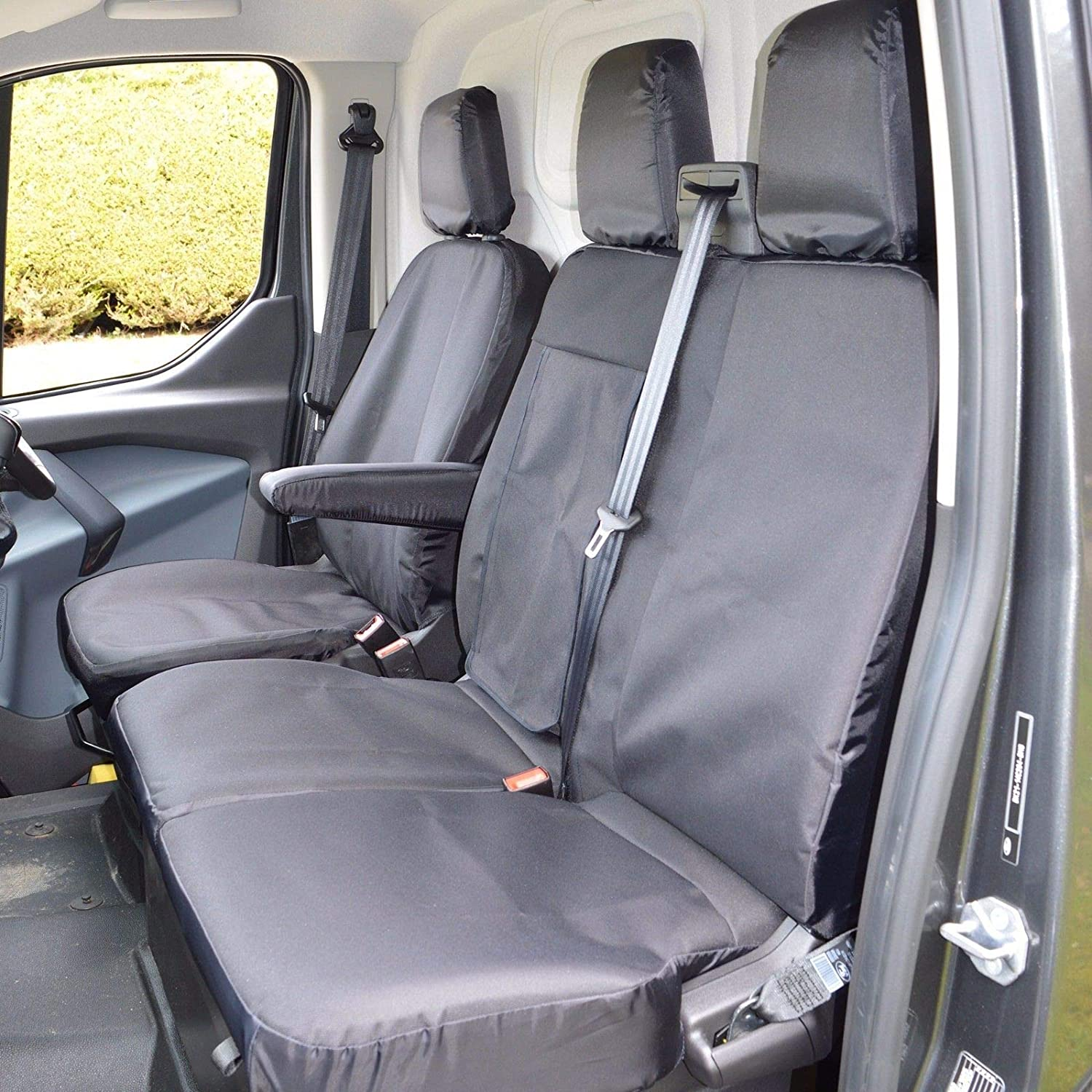 TO FIT A FORD TRANSIT VAN SEAT COVERS 2012 INDUS GREY 1 SINGLE AND 1 DOUBLE