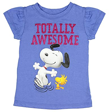 ad8ca7156bc04f Amazon.com: Peanuts Little Girls' Snoopy Totally Awesome T-Shirt ...