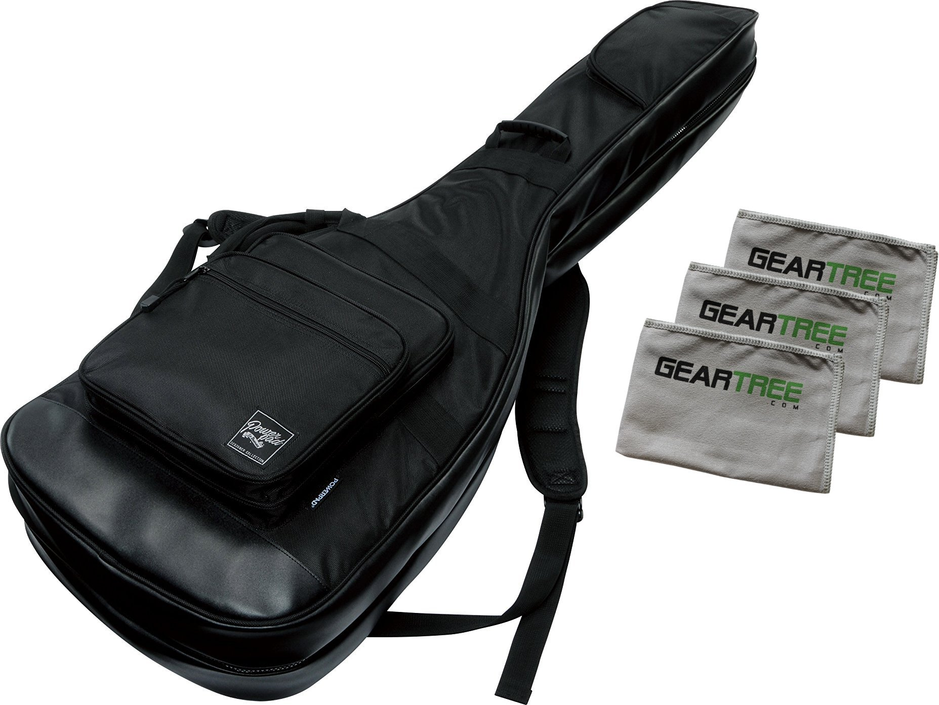 Ibanez IBB2540 BK Black Double Electric Bass Guitar Gig Bag Bundle w/Cloth Pack