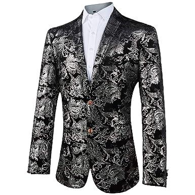outlet store 39c03 cff4e GOMY Giacche Uomo Elegante Blazer Stampato