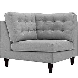 Modern Contemporary Urban Design Living Lounge Room Corner Sofa Chair, Grey Gray, Fabric