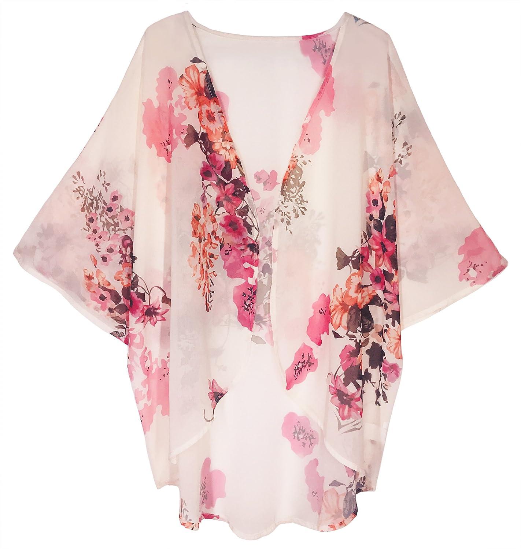 Finoceans Womens Floral Chiffon Kimono Cardigans Loose Beach Cover