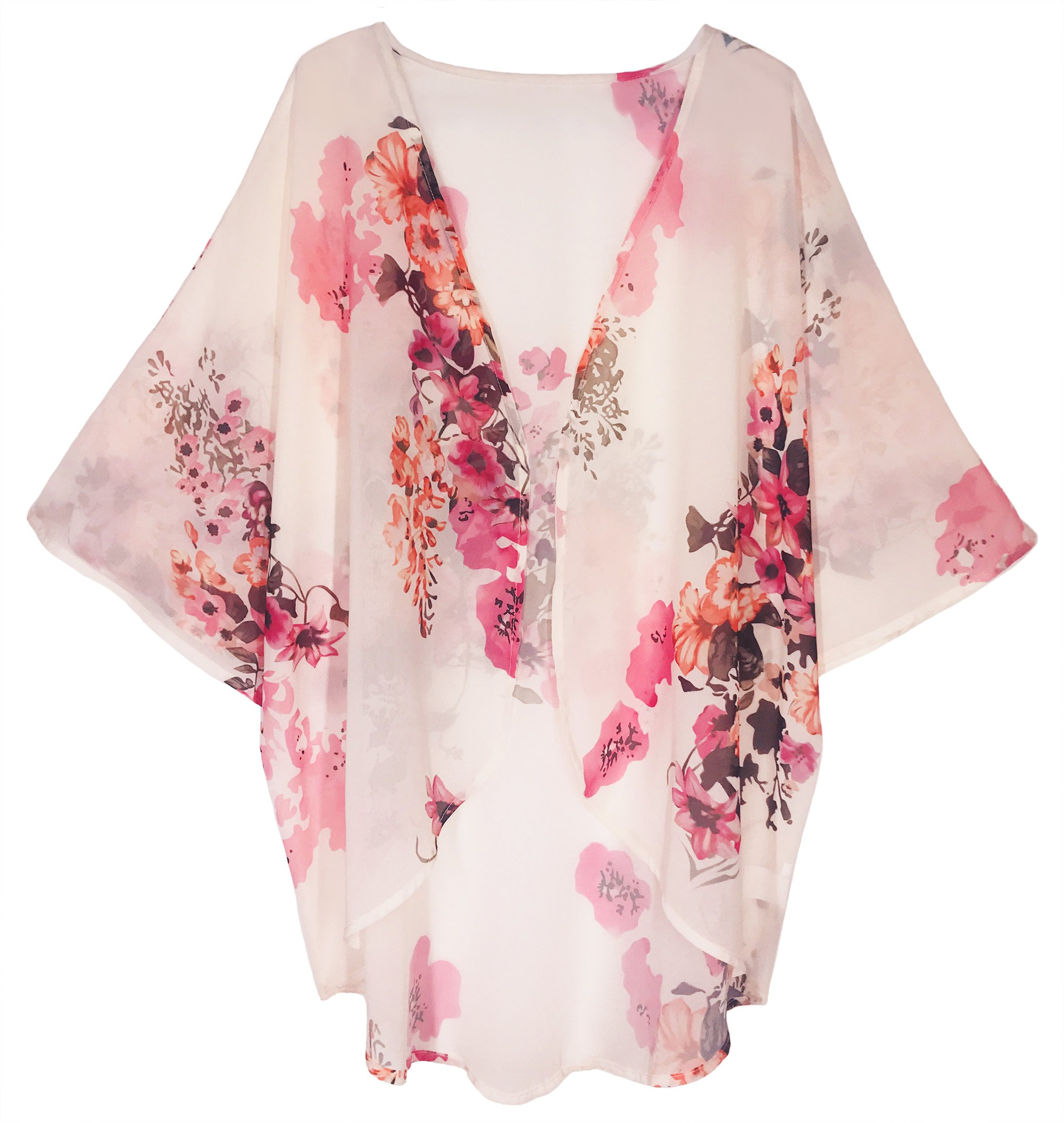 Finoceans Women's Kimono Cardigans Loose Beach Cover up Light Pink Floral M