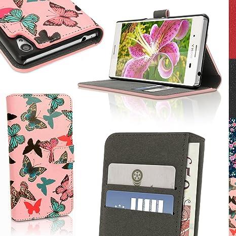 igadgitz Designer Colección Mariposa Diseño PU Cuero Funda Cartera Tapa Carcasa para Sony Xperia M4 Aqua E2303 Piel Flip Case Cover Con Ranura Para ...
