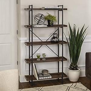"WE Furniture AZS68UPDW Bookshelf, 68"", Dark Walnut"