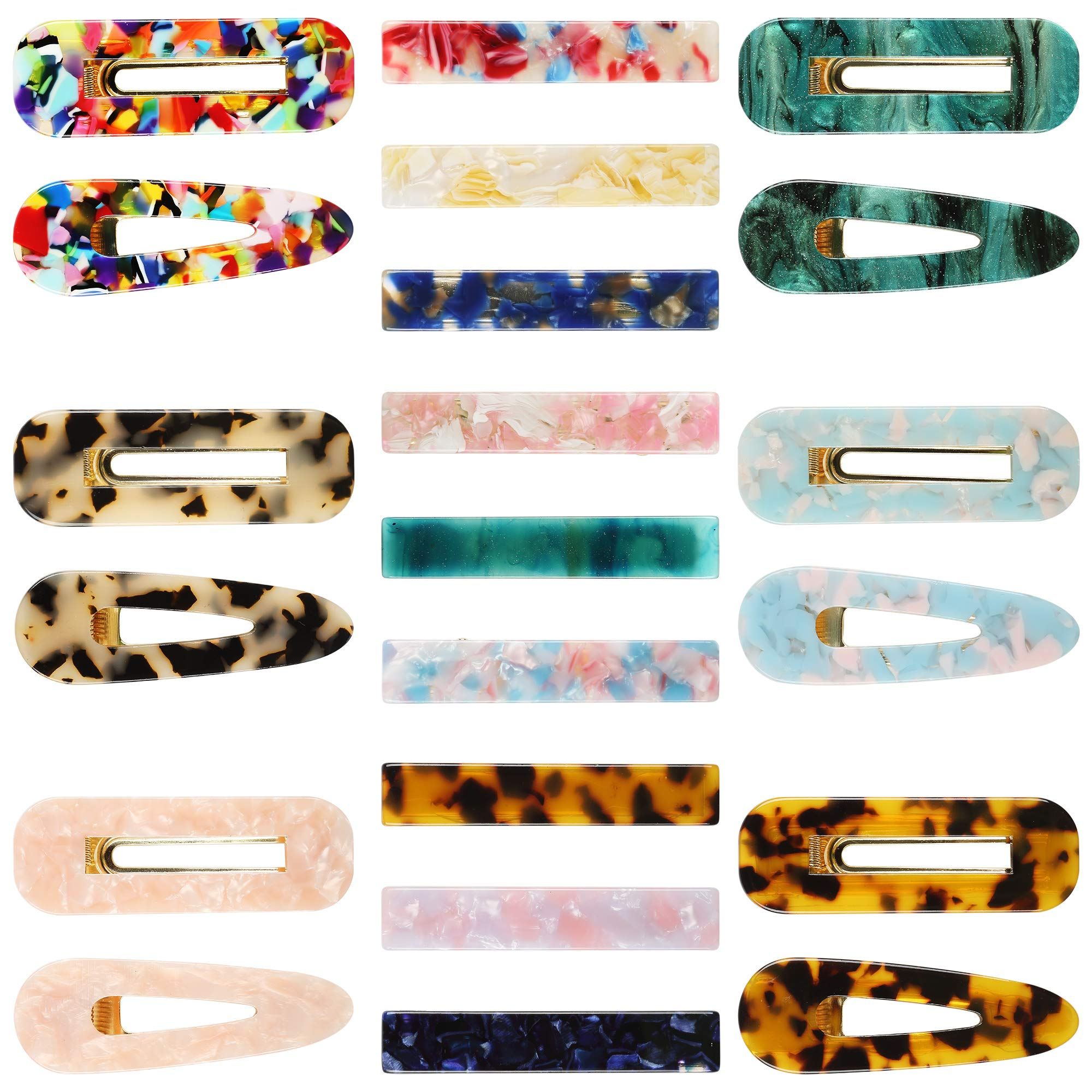 21Pcs Acrylic Resin Hair Clips Set,MASWATER Premium Acrylic Hair Barrettes,Fashion Geometric Marble Rectangle Clips Duckbill Alligator Clips for Women Ladies Hair accessories