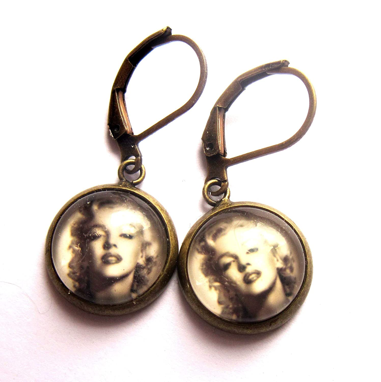 Sepia Pin Up Earrings Glass And Brass Nickel And Lead Free