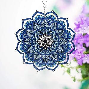 uoudio 3D Mandala Wind Spinner - Indoor Outdoor Stainless Steel Garden Decoration Crafts Ornaments (Blue Wind Spinner)
