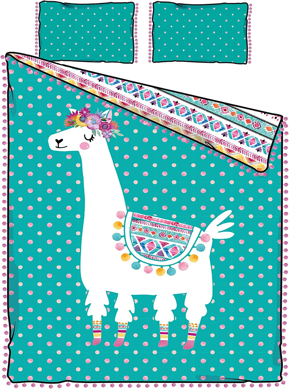 South Shore DreamIt Full Comforter and Pillowcase Festive Llama, Turquoise and Pink