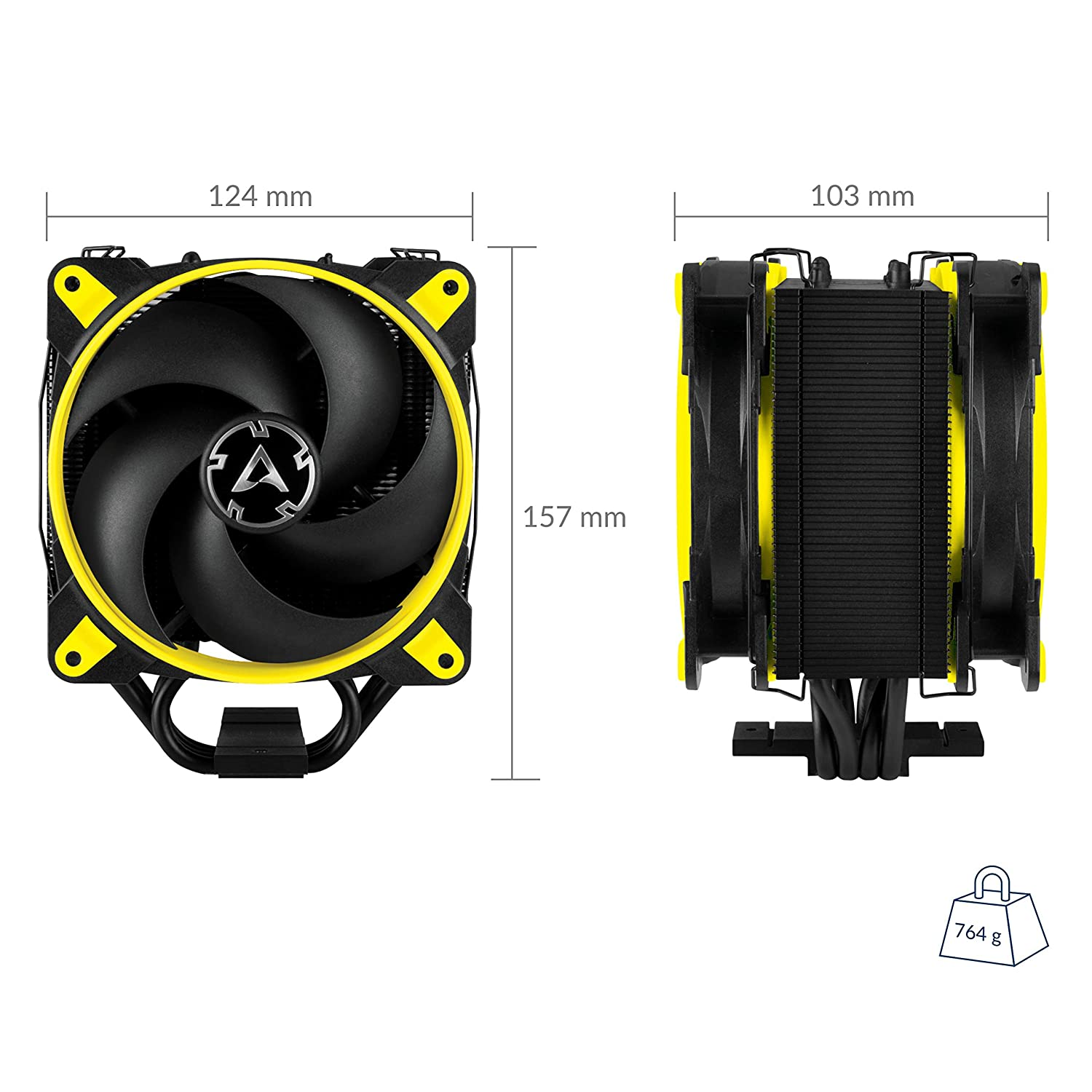 Yellow Tower CPU Cooler with Push-Pull Configuration I Silent 3-Phase-Motor and wide range of regulation 200 to 1800 RPM I Includes 2 low noise 120 mm fans ARCTIC Freezer 33 eSports Edition