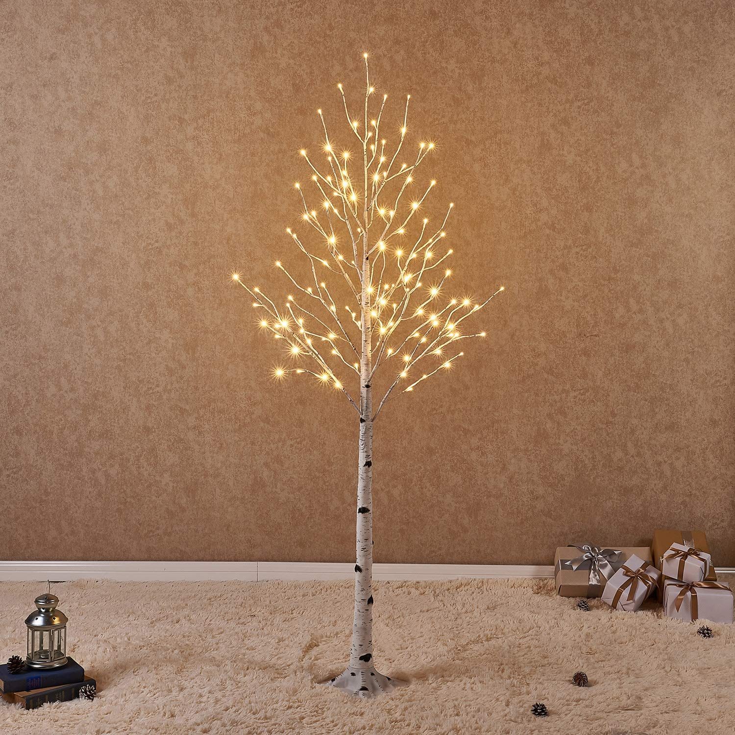 Hairui Pre Lit Birch Tree 6FT 128L for Home Decoration, White Christmas Tree with LED Lights Warm White, Lighted Artificial Tree with Partial Twinkling Feature Output 24V Safety Voltage
