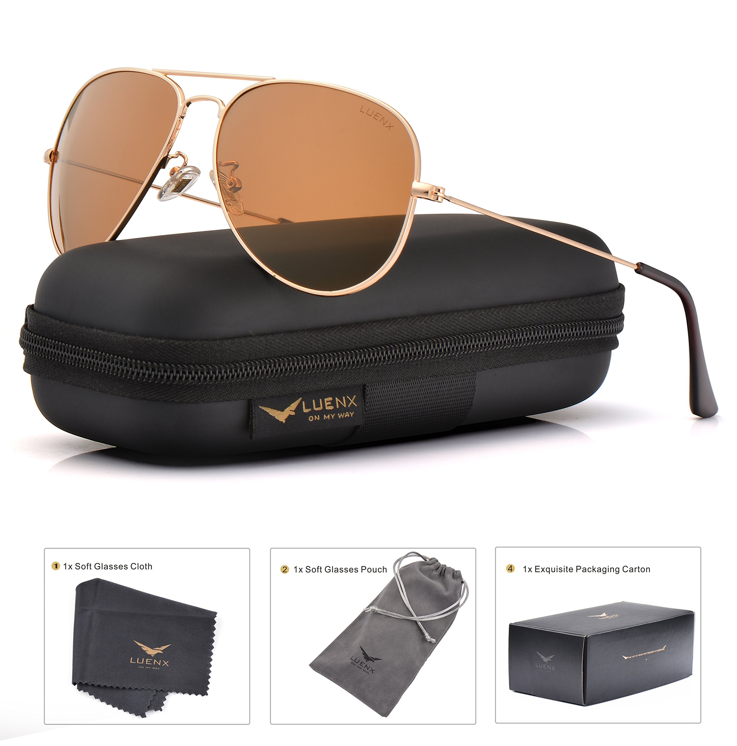 LUENX Womens Mens Aviator Sunglasses Polarized Brown Amber Lenses Gold Metal Frame UV400 Protection Classic Style