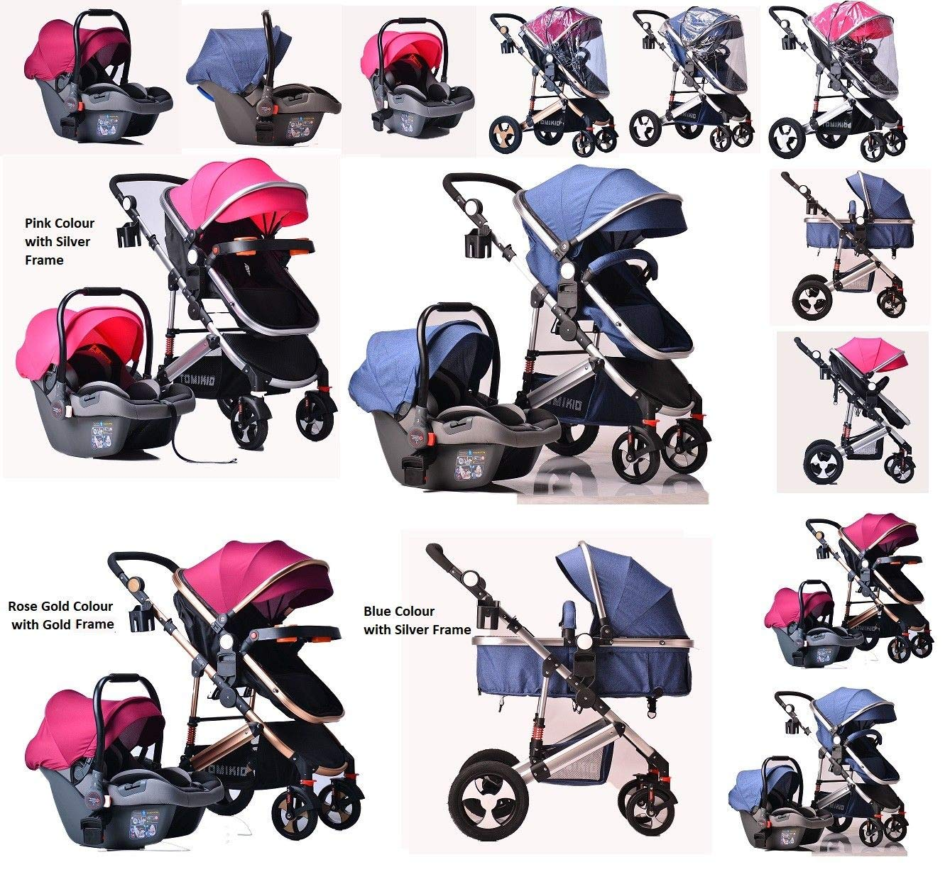 red Pram Travel System 3 in 1 Combi Stroller Buggy Baby Child Pushchair Reverse or Forward Facing Rain Cover Mosquito Net Bottle Holder Foldable with FootMuff Wine Red with Gold Frame