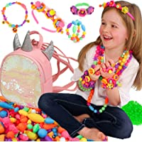 Pop Beads Jewellery Kits for Girls, Colourful Toy Jewellery Making, Unicorn Backpack Arts & Crafts for Kids age 4-8…
