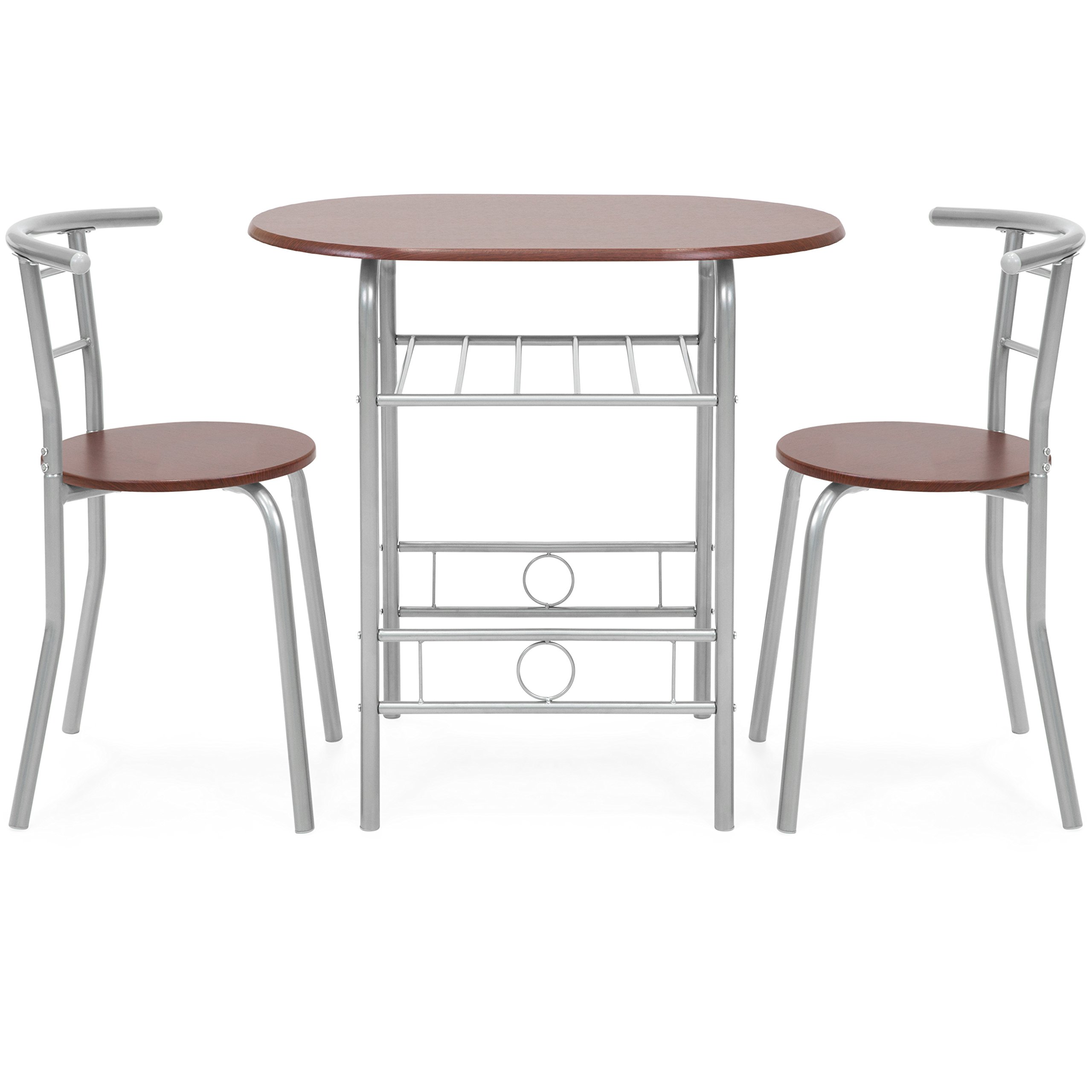 Best Choice Products 3-Piece Wooden Kitchen Dining Room Round Table and Chairs Set w/Built in Wine Rack (Espresso) by Best Choice Products (Image #2)