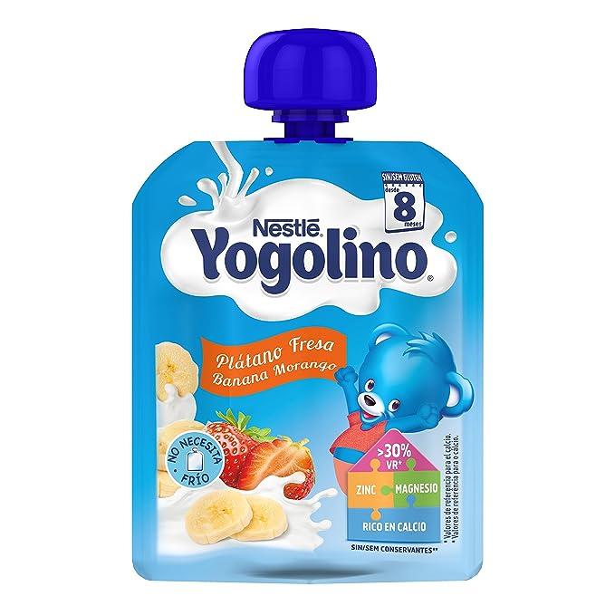 Nestlé iogolino Alimento infantil, leche fermentada con puré de plátano y fresa - 90 gr