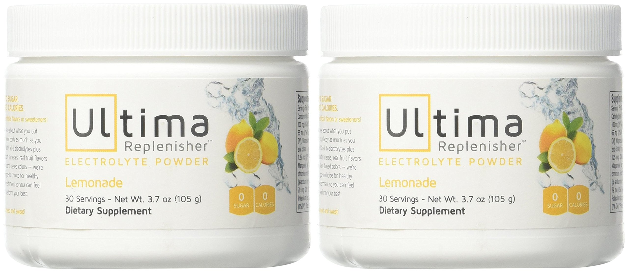 Ultima Replenisher Electrolyte Powder 30 Serving Canister, Lemonade, 3.7 Ounce (2-Pack) by Ultima Replenisher